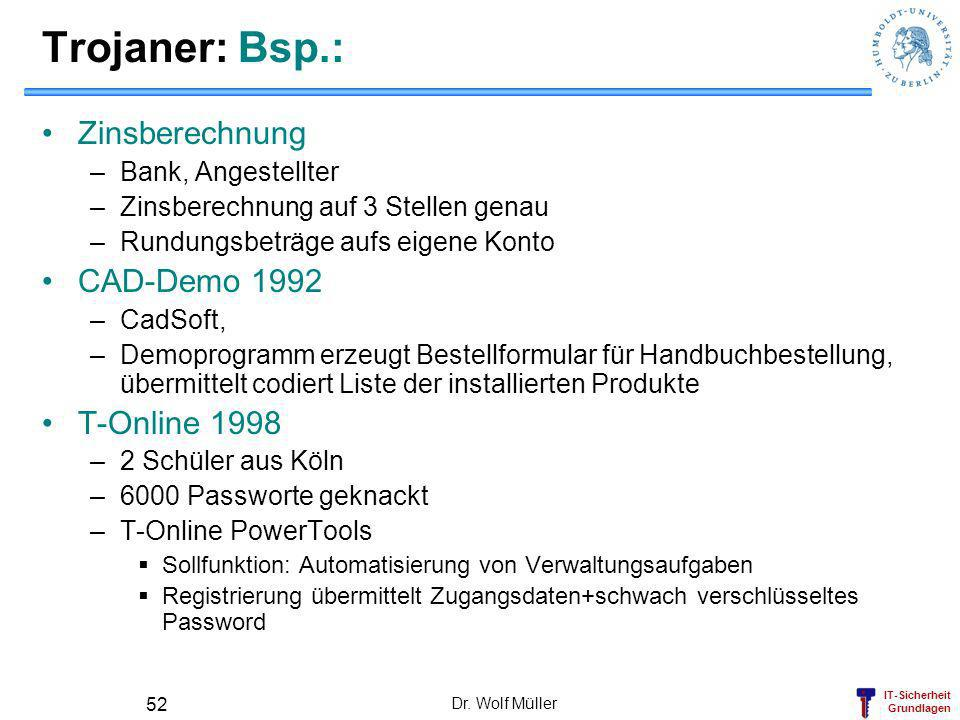 Trojaner: Bsp.: Zinsberechnung CAD-Demo 1992 T-Online 1998