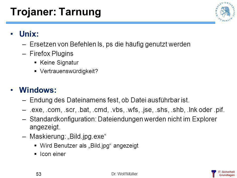 Trojaner: Tarnung Unix: Windows: