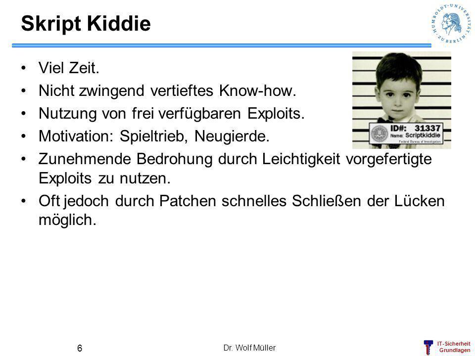 Skript Kiddie Viel Zeit. Nicht zwingend vertieftes Know-how.
