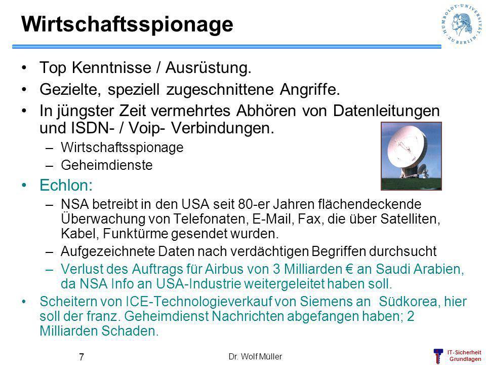 Wirtschaftsspionage Top Kenntnisse / Ausrüstung.