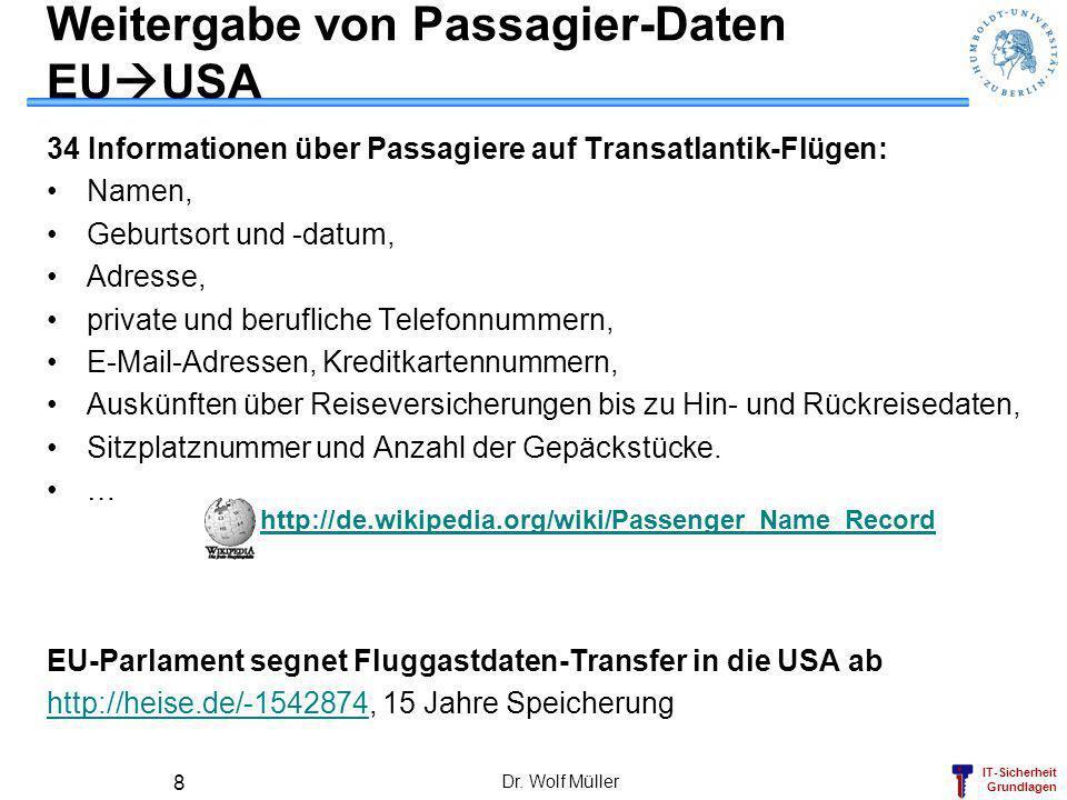 Weitergabe von Passagier-Daten EUUSA