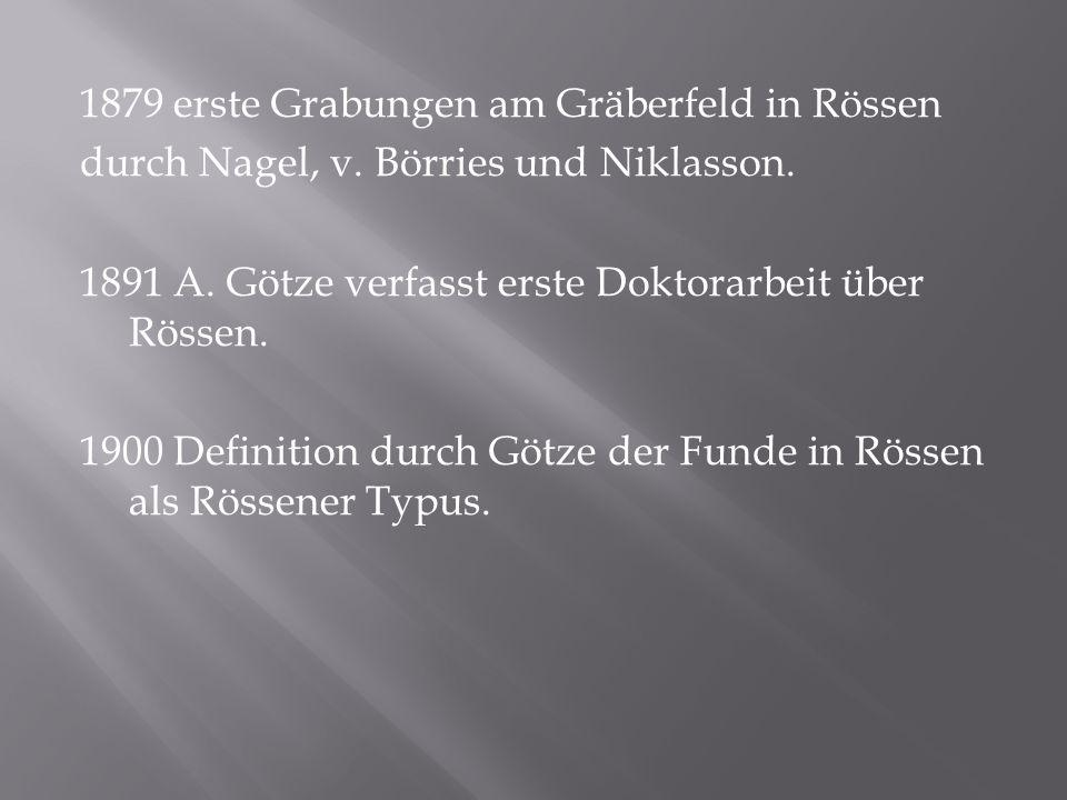 1879 erste Grabungen am Gräberfeld in Rössen durch Nagel, v