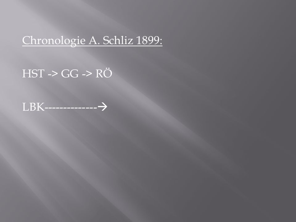 Chronologie A. Schliz 1899: HST -> GG -> RÖ LBK--------------