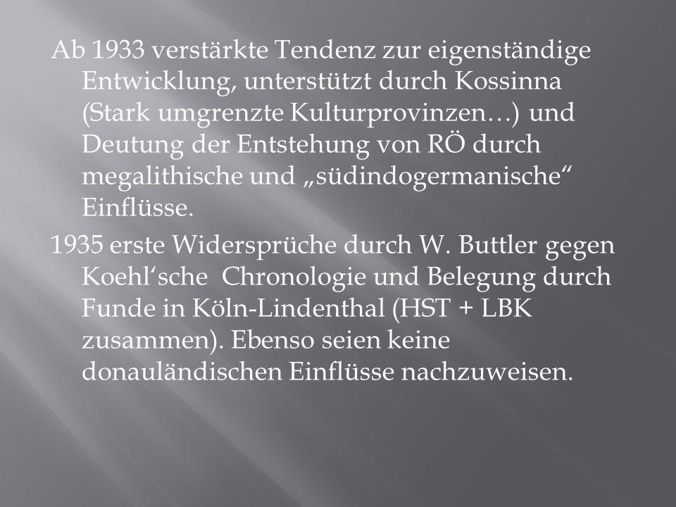 """Ab 1933 verstärkte Tendenz zur eigenständige Entwicklung, unterstützt durch Kossinna (Stark umgrenzte Kulturprovinzen…) und Deutung der Entstehung von RÖ durch megalithische und """"südindogermanische Einflüsse."""