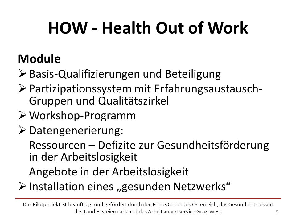HOW - Health Out of Work Module Basis-Qualifizierungen und Beteiligung