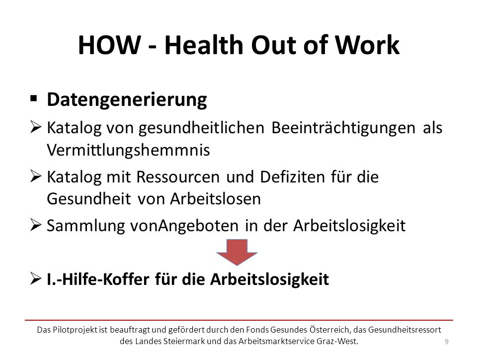 HOW - Health Out of Work Datengenerierung