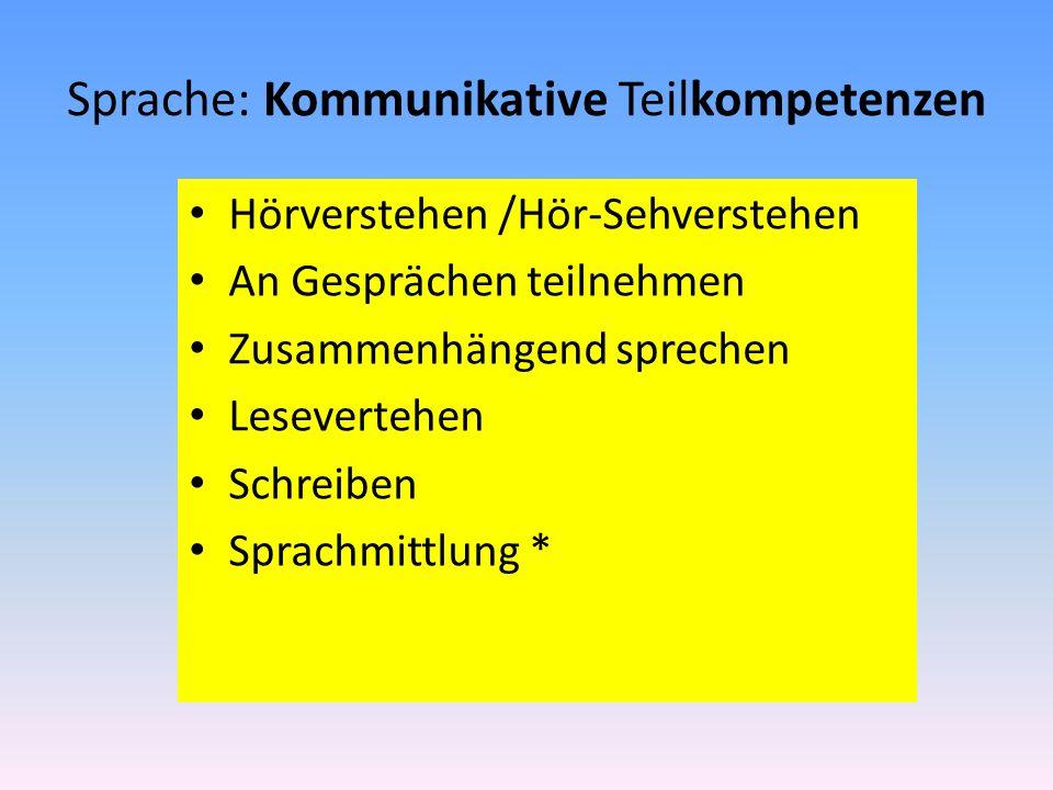 Sprache: Kommunikative Teilkompetenzen