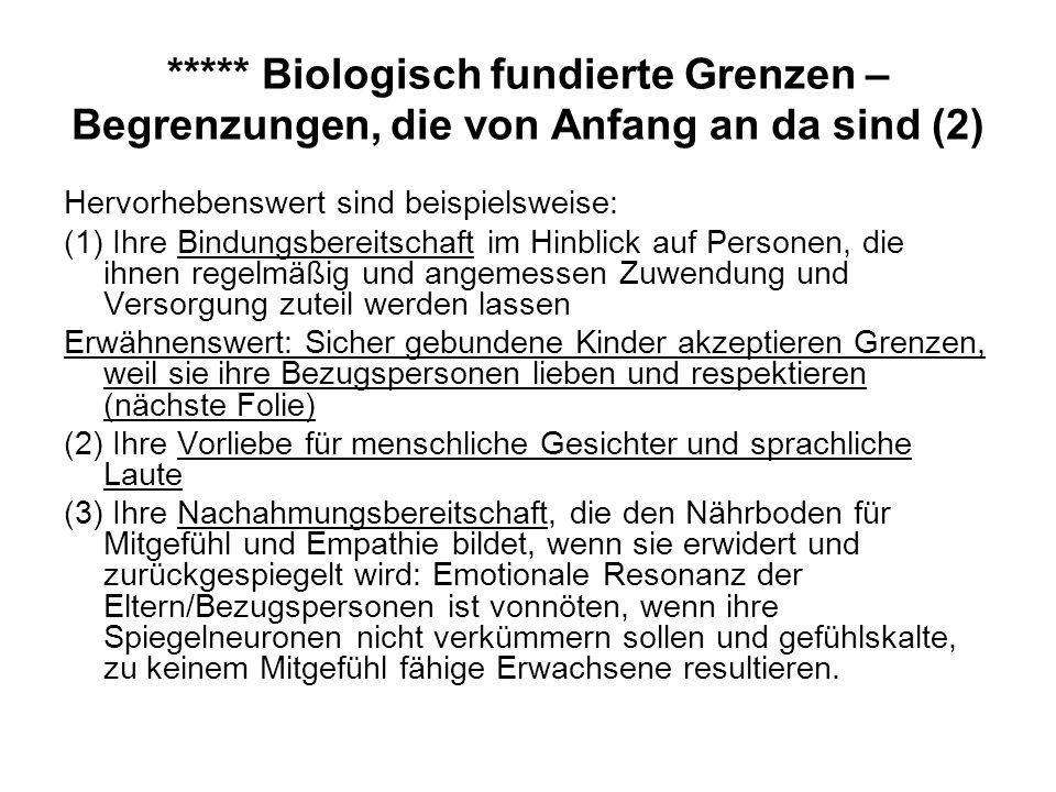 ***** Biologisch fundierte Grenzen – Begrenzungen, die von Anfang an da sind (2)