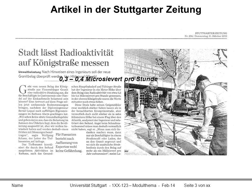 Artikel in der Stuttgarter Zeitung