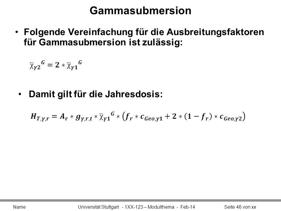 Gammasubmersion Folgende Vereinfachung für die Ausbreitungsfaktoren für Gammasubmersion ist zulässig: