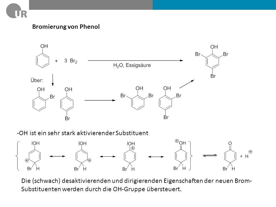 Bromierung von Phenol -OH ist ein sehr stark aktivierender Substituent.
