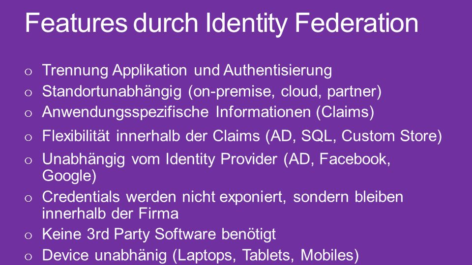 Features durch Identity Federation