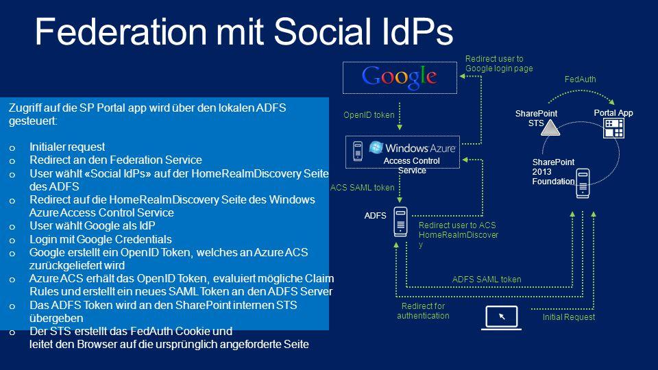 Federation mit Social IdPs