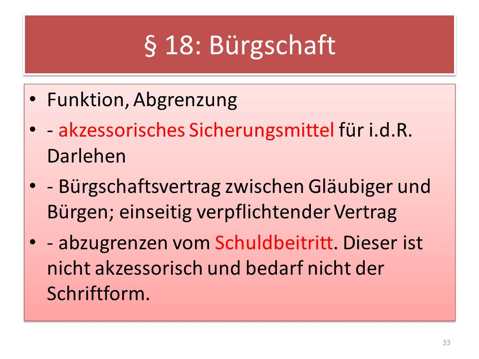 § 18: Bürgschaft Funktion, Abgrenzung