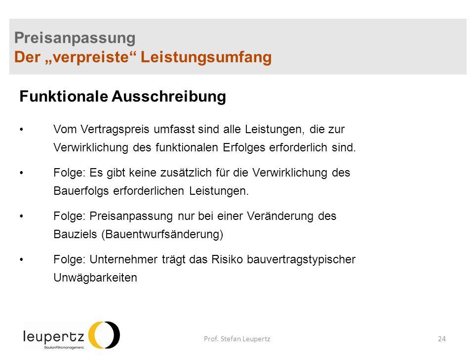 """Preisanpassung Der """"verpreiste Leistungsumfang"""