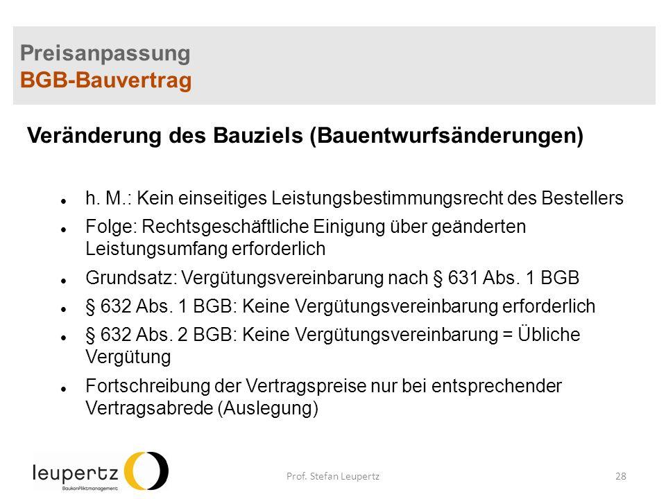 Preisanpassung BGB-Bauvertrag