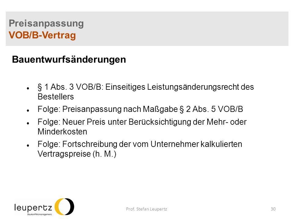 Preisanpassung VOB/B-Vertrag