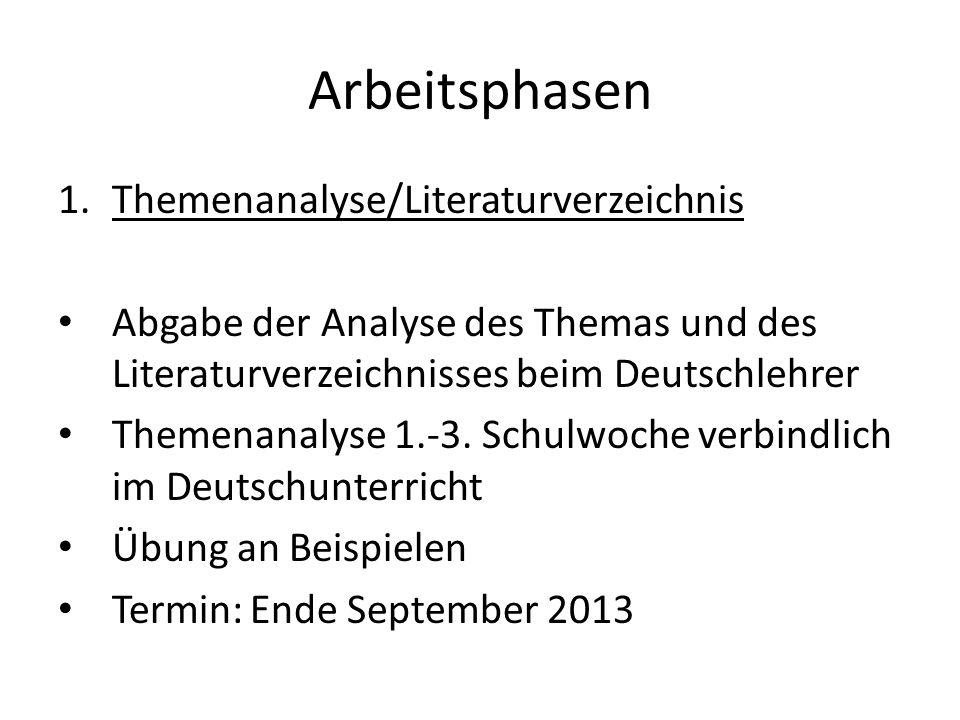 Arbeitsphasen Themenanalyse/Literaturverzeichnis