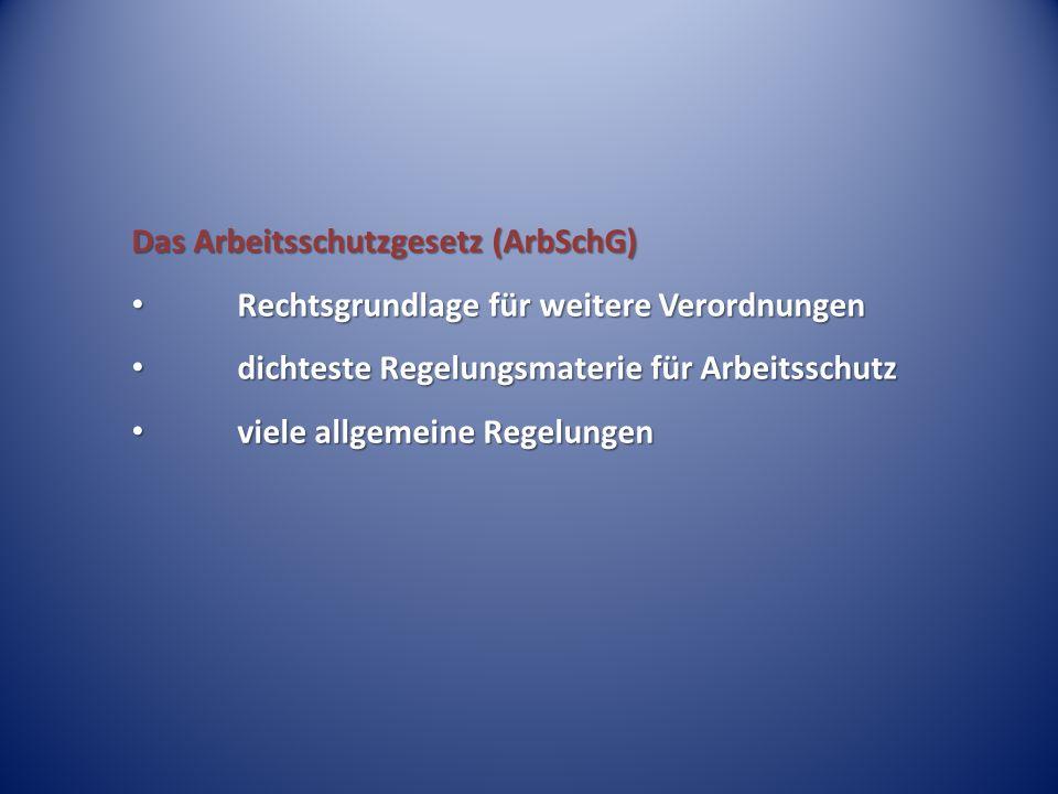 Das Arbeitsschutzgesetz (ArbSchG)