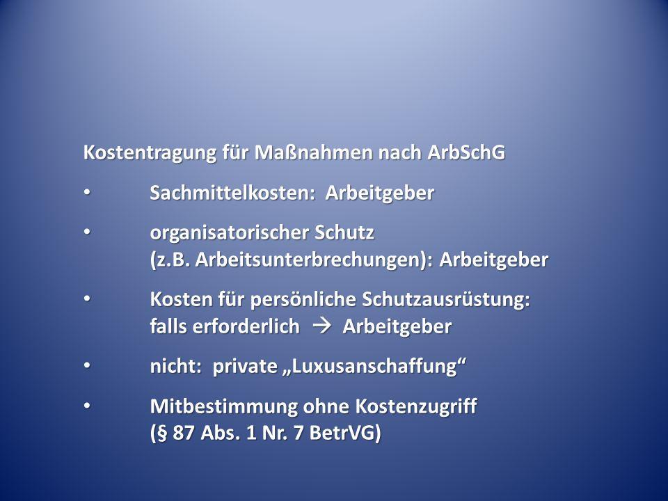 Kostentragung für Maßnahmen nach ArbSchG