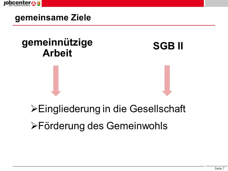gemeinnützige Arbeit SGB II