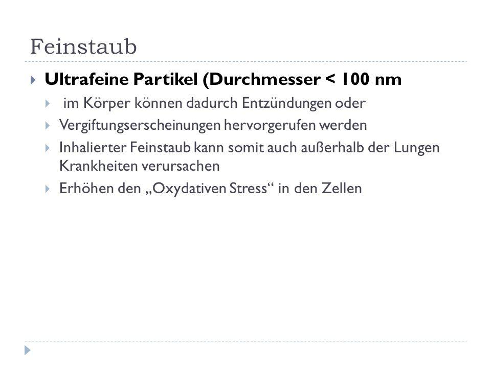 Feinstaub Ultrafeine Partikel (Durchmesser < 100 nm