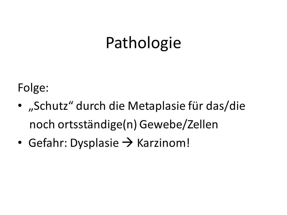 """Pathologie Folge: """"Schutz durch die Metaplasie für das/die"""