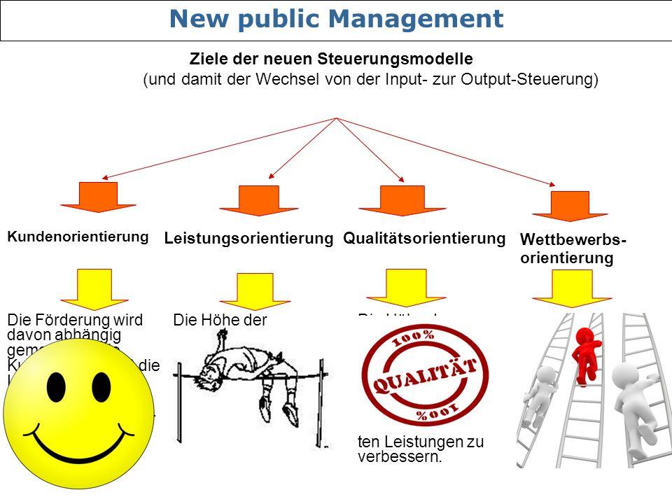 New public Management Ziele der neuen Steuerungsmodelle (und damit der Wechsel von der Input- zur Output-Steuerung)