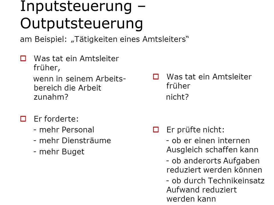 """Inputsteuerung – Outputsteuerung am Beispiel: """"Tätigkeiten eines Amtsleiters"""