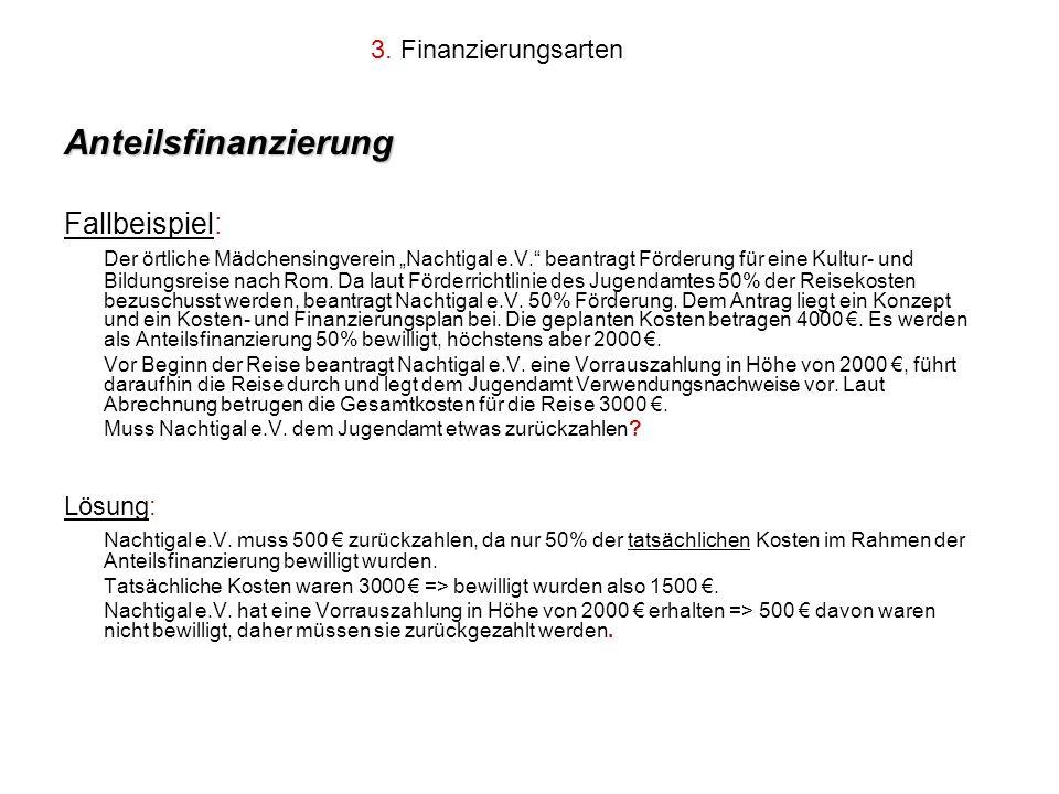 Anteilsfinanzierung Fallbeispiel: 3. Finanzierungsarten