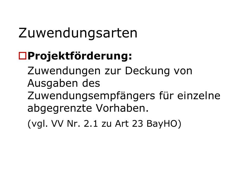 Zuwendungsarten Projektförderung: