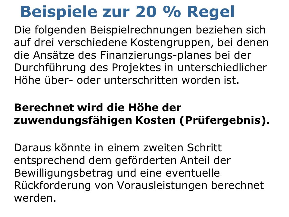 Beispiele zur 20 % Regel