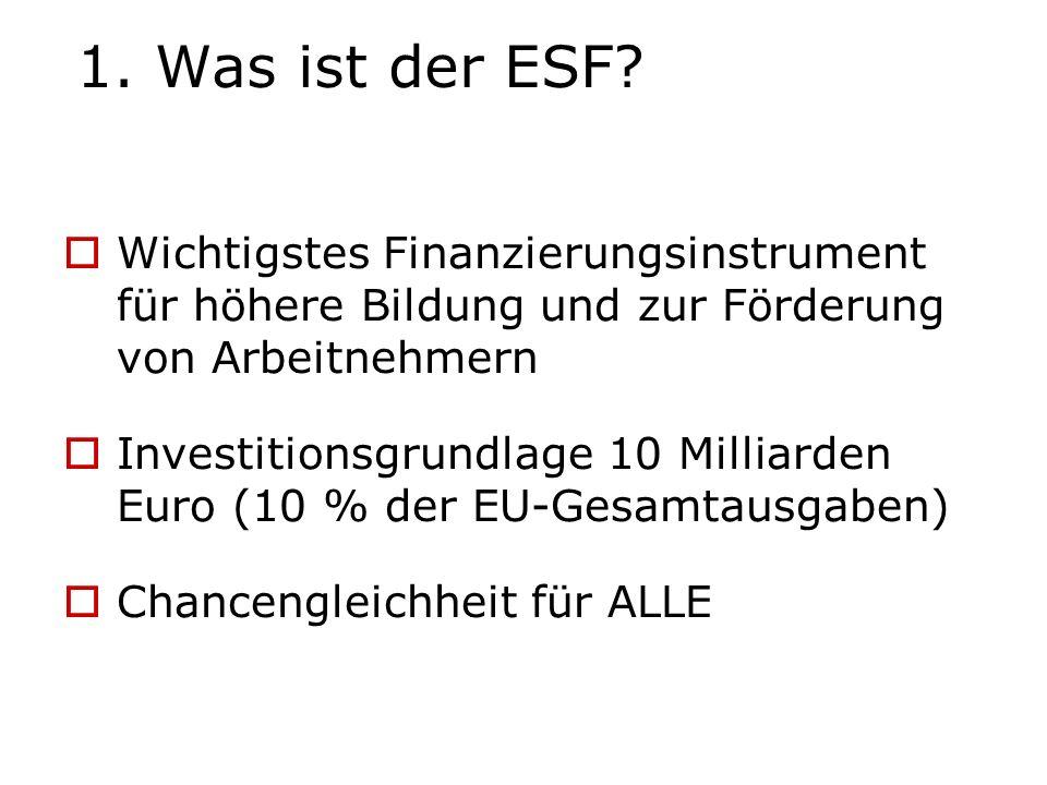 1. Was ist der ESF Wichtigstes Finanzierungsinstrument für höhere Bildung und zur Förderung von Arbeitnehmern.