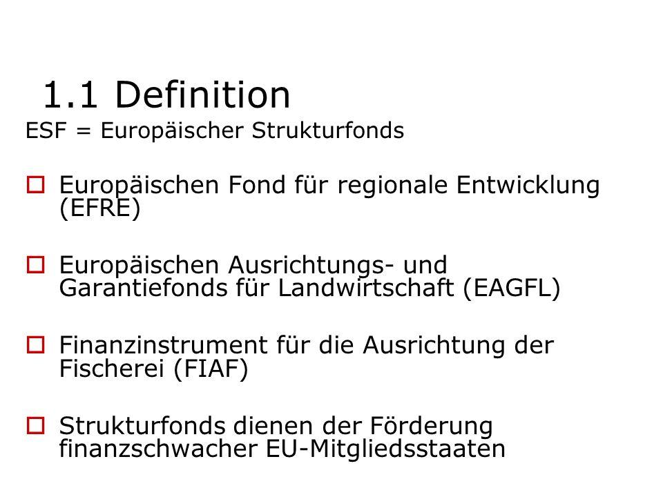 1.1 Definition Europäischen Fond für regionale Entwicklung (EFRE)