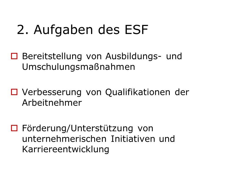 2. Aufgaben des ESF Bereitstellung von Ausbildungs- und Umschulungsmaßnahmen. Verbesserung von Qualifikationen der Arbeitnehmer.