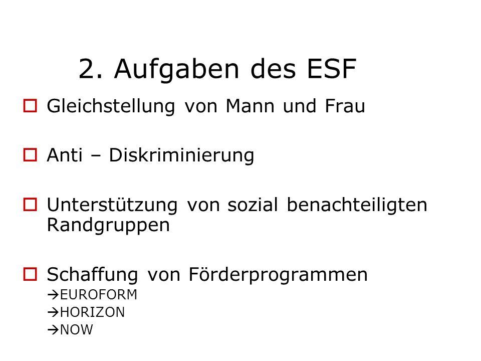 2. Aufgaben des ESF Gleichstellung von Mann und Frau