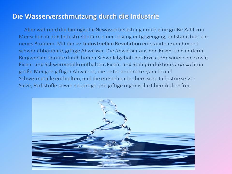 Die Wasserverschmutzung durch die Industrie