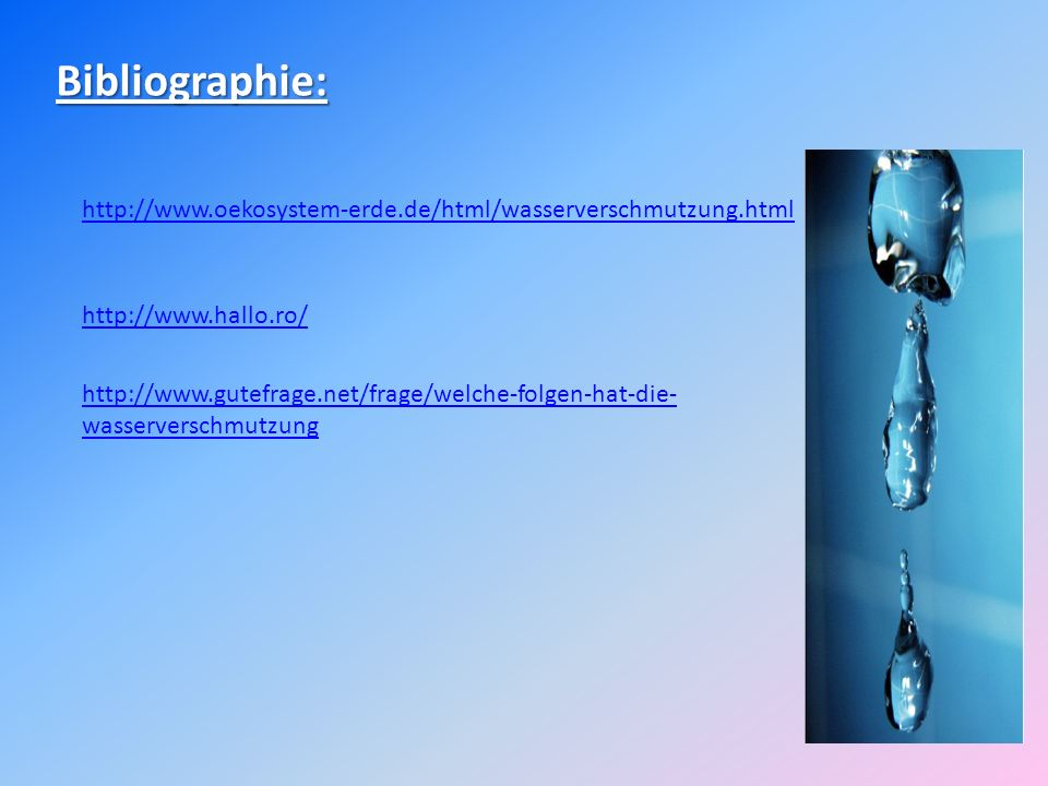 Bibliographie: http://www.oekosystem-erde.de/html/wasserverschmutzung.html. http://www.hallo.ro/