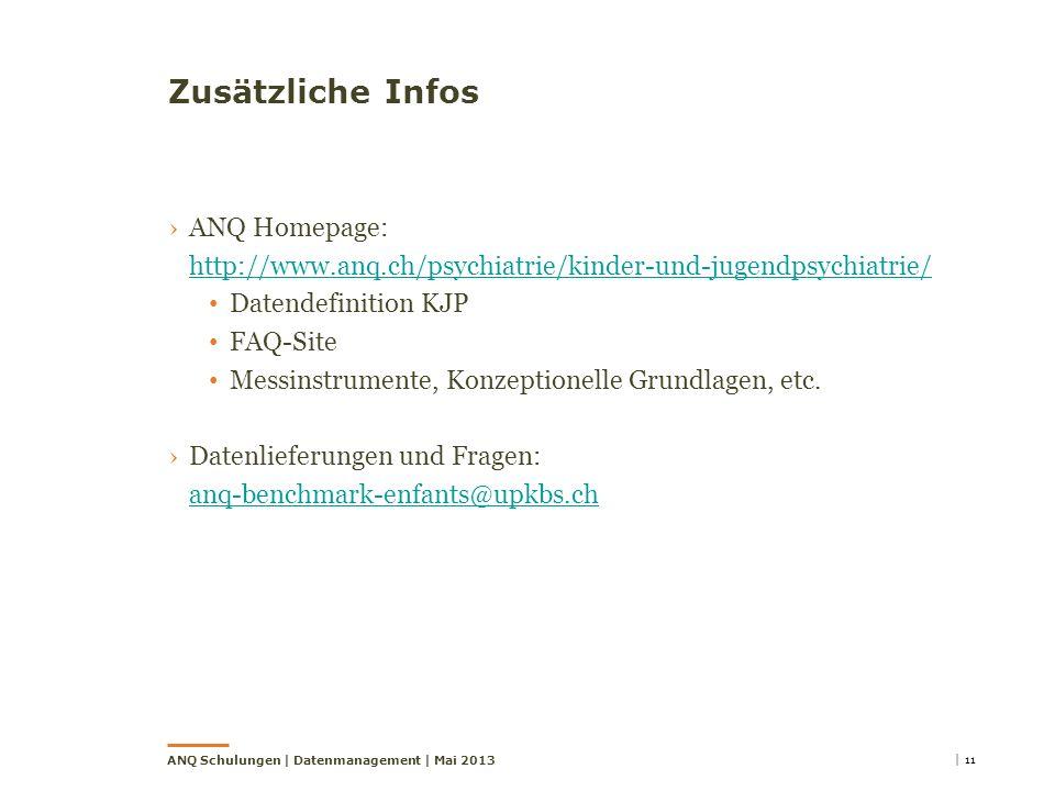 Zusätzliche Infos ANQ Homepage: http://www.anq.ch/psychiatrie/kinder-und-jugendpsychiatrie/ Datendefinition KJP.