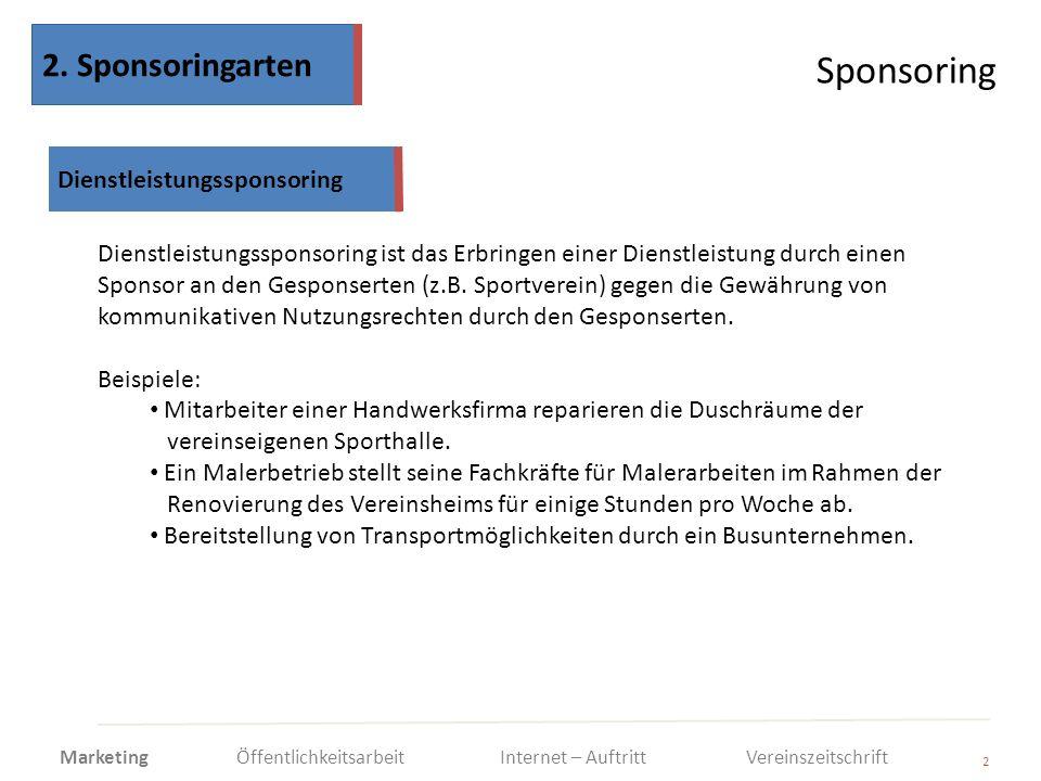 Sponsoring 2. Sponsoringarten Dienstleistungssponsoring
