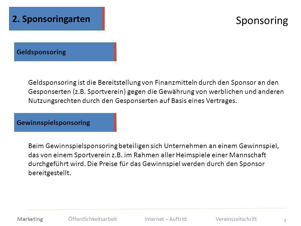 Sponsoring 2. Sponsoringarten Geldsponsoring