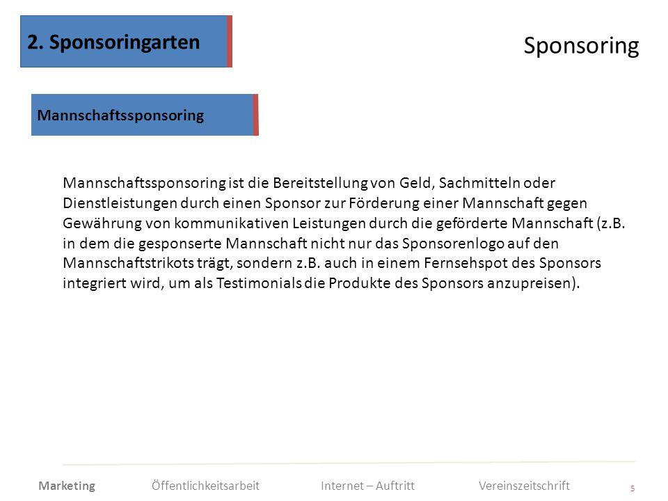 Sponsoring 2. Sponsoringarten Mannschaftssponsoring