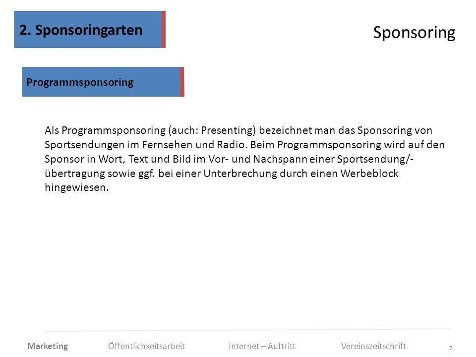 Sponsoring 2. Sponsoringarten Programmsponsoring