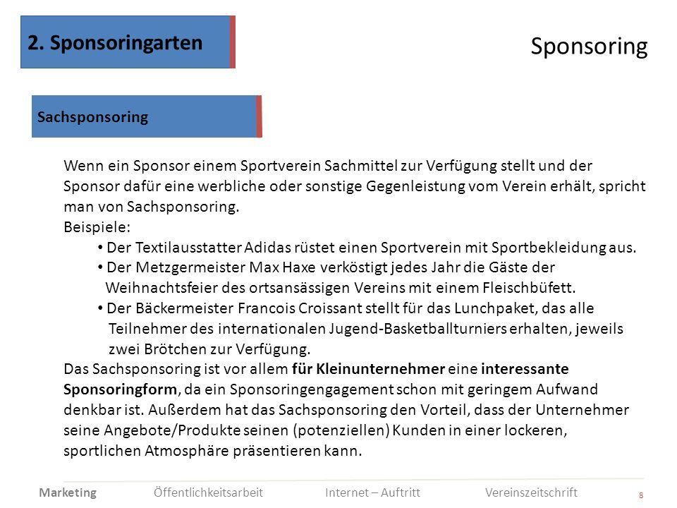 Sponsoring 2. Sponsoringarten Sachsponsoring