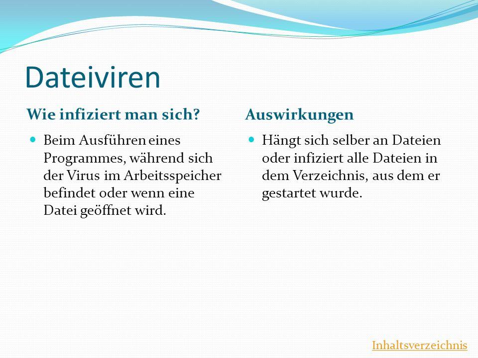 Dateiviren Wie infiziert man sich Auswirkungen