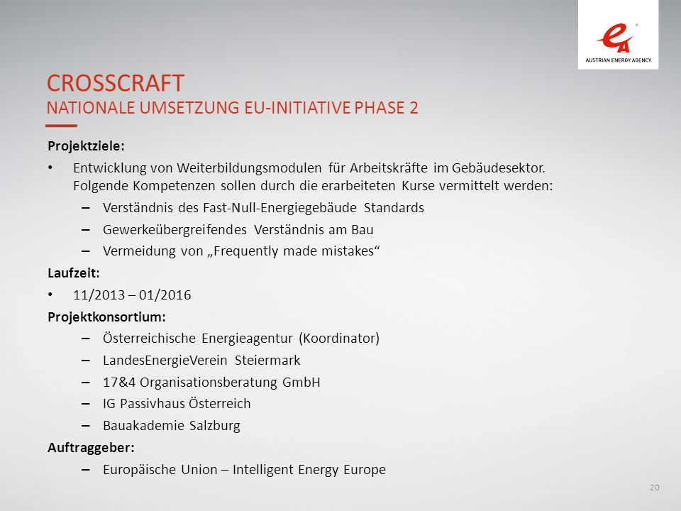 Crosscraft Nationale Umsetzung EU-Initiative Phase 2