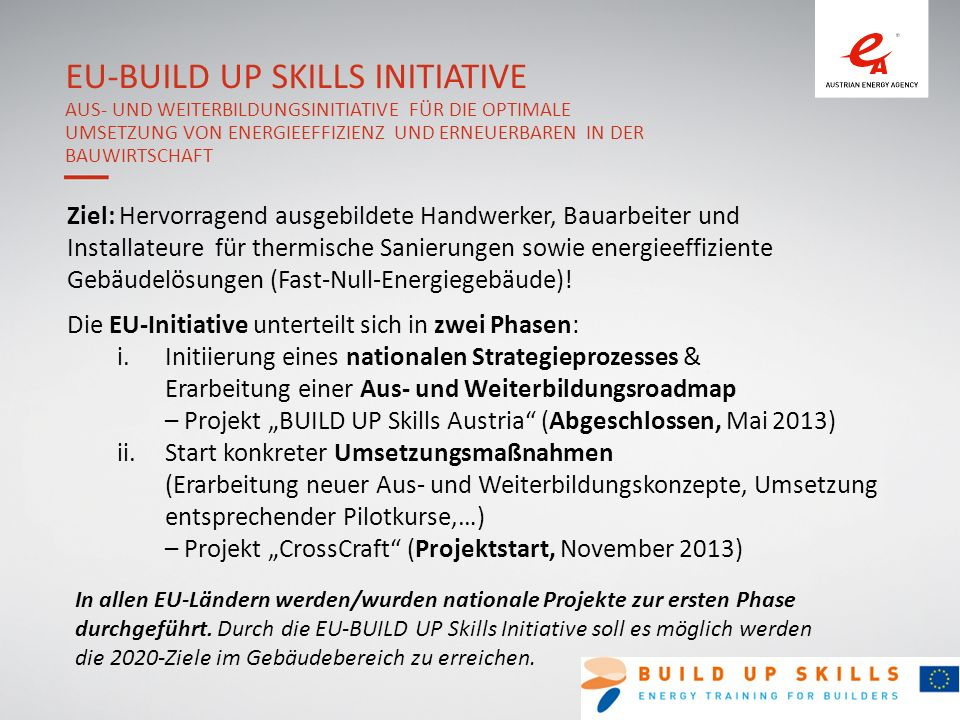 EU-BUILD UP Skills Initiative Aus- und Weiterbildungsinitiative für die optimale Umsetzung von Energieeffizienz und Erneuerbaren in der Bauwirtschaft