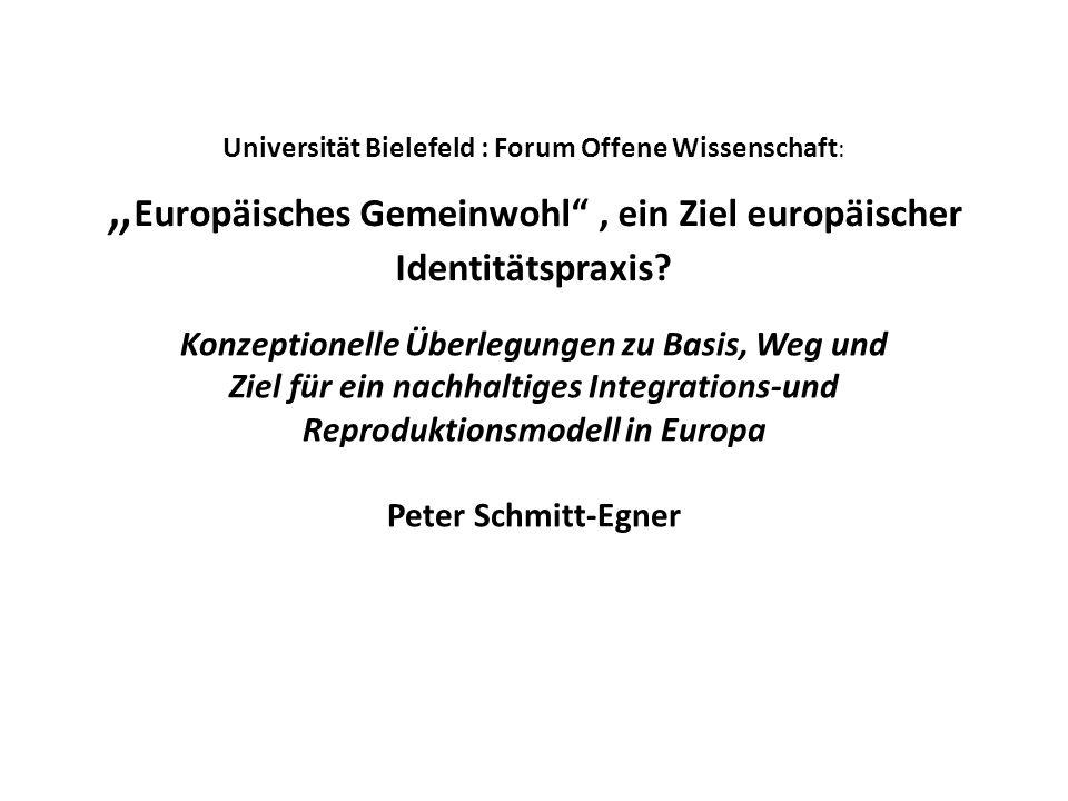 """Universität Bielefeld : Forum Offene Wissenschaft: """"Europäisches Gemeinwohl , ein Ziel europäischer Identitätspraxis"""
