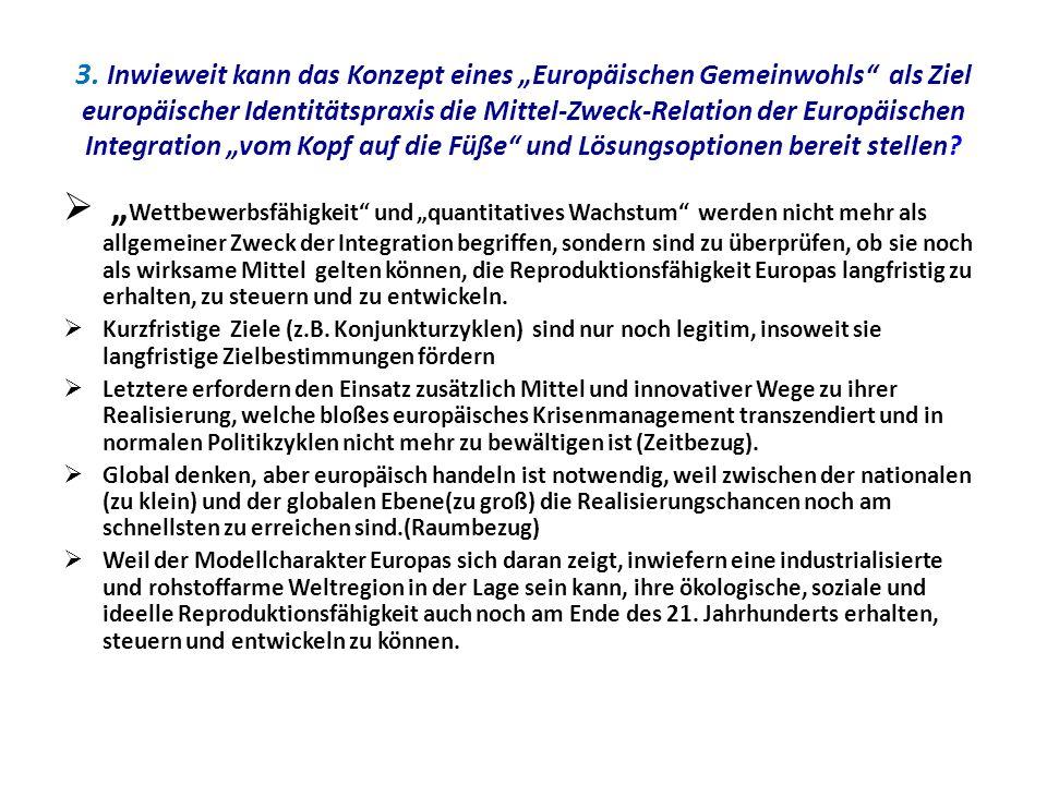 """3. Inwieweit kann das Konzept eines """"Europäischen Gemeinwohls als Ziel europäischer Identitätspraxis die Mittel-Zweck-Relation der Europäischen Integration """"vom Kopf auf die Füße und Lösungsoptionen bereit stellen"""