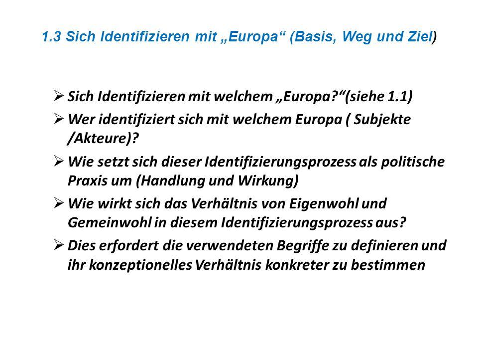 """1.3 Sich Identifizieren mit """"Europa (Basis, Weg und Ziel)"""